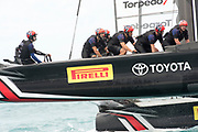 The Great Sound, Bermuda. 11th June 2017. Emirates Team New Zealand sail back to base after winning a close finish in race six of the Louis Vuitton America's Cup Challenger playoff finals against Artemis Racing (SWE) .