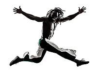 one black man running jumping on white background