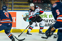 KELOWNA, BC - DECEMBER 27:  Jadon Joseph #18 of the Kelowna Rockets passes the puck during first period against the Kamloops Blazers at Prospera Place on December 27, 2019 in Kelowna, Canada. (Photo by Marissa Baecker/Shoot the Breeze)