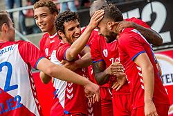 16-08-2017 NED: Europa League FC Utrecht - Zenit St. Petersburg, Utrecht<br /> Zakaria Labyad #10 of FC Utrecht scoort de winnende 1-0 en viert zijn feestje. Yassin Ayoub #8 of FC Utrecht