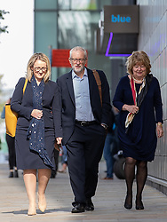 © Licensed to London News Pictures . 02/09/2019. Manchester, UK. JEREMY CORBYN arrives at The Landing Media City for a speech and Q&A . The Labour Party hold a shadow cabinet meeting in Salford , attended by party leader Jeremy Corbyn and Rebecca Long-Bailey . Photo credit: Joel Goodman/LNP
