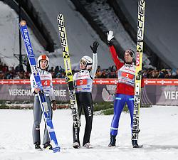 29.12.2013, Schattenbergschanze, Oberstdorf, GER, FIS Ski Sprung Weltcup, 62. Vierschanzentournee, Podium, im Bild Thomas Diethart (AUT), Simon Ammann (SUI) und Anders Bardal (NOR) // Thomas Diethard of Austria, Simon Ammann of Switzerland and Anders Bardal of Norway celebrate on Podium of 62th Four Hills Tournament of FIS Ski Jumping World Cup at the Schattenbergschanze, Oberstdorf, Germany on 2013/12/29. EXPA Pictures © 2013, PhotoCredit: EXPA/ Peter Rinderer