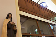 Figure of Virgin Mary at St. Lawrence's Catholic church in Feltham, London.
