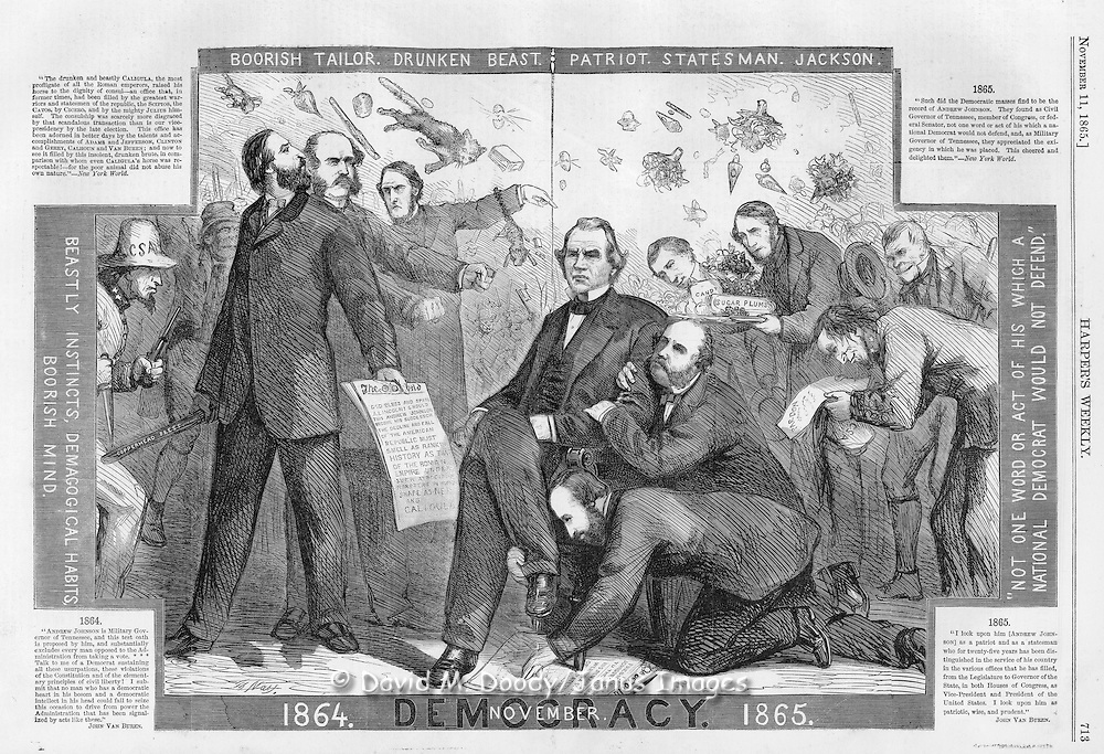 Civil War: 1865 Politics post civil war election. Harper's Weekly November 11, 1865 Page 713 by Thomas Nast
