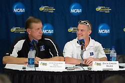 26 May 2007: Duke Blue Devils head coach John Danowski and attackman Zack Greer (25) talk with media in a press conference after a 12-11 win over the Cornell Big Red in the NCAA Semifinals at M&T Bank Stadium in Baltimore, MD.