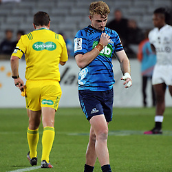 Blues winger walks off after being yellow carded by referee Nick Briant during the Super Rugby match between the Blues and Sharks at Eden Park in Auckland, New Zealand on Saturday, 31 March 2018. Photo: Dave Lintott / lintottphoto.co.nz