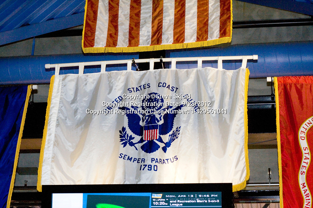 United States Coast Guard Flag hanging in a hockey arena. Maplewood Minnesota MN USA