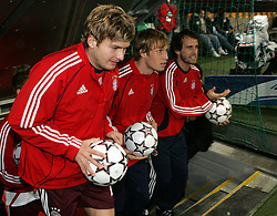 Munich, Germany - Wednesday, March 7, 2007:  Bayern Munich's Andreas Goerlitz, Andreas Ottl and Mehmet Scholl during the UEFA Champions League First Knock-out Round 2nd Leg at the Allianz Arena. (Pic by Christian Kolb/Propaganda/Hochzwei) +++UK SALES ONLY+++