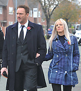 THE FUNERAL SERVICE OF KIRSTY HOWARD THE MANCHESTER BORN FUNDRASER HAS TAKEN PLACE TODAY.....HUNDREDS OF MOURNERS LINED THE STREETS OF MANCHESTER WHERE SHE GREW UP, <br /> <br /> Photo shows: Singer RUSSELL WATSON AND HIS WIFE LOUISE HARRIS<br /> ©Exclusivepix Media