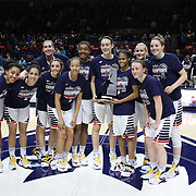 The UConn Huskies after clinching the American regular season title during the UConn Vs SMU Women's College Basketball game at Gampel Pavilion, Storrs, Conn. 24th February 2016. Photo Tim Clayton