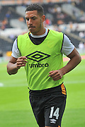 Hull City midfielder Jake Livermore (14) warming up before  the Premier League match between Hull City and Leicester City at the KCOM Stadium, Kingston upon Hull, England on 13 August 2016. Photo by Ian Lyall.
