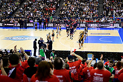 Bristol Flyers enter the court - Photo mandatory by-line: Ryan Hiscott/JMP - 26/01/2020 - BASKETBALL - Arena Birmingham - Birmingham, England - Bristol Flyers v Worcester Wolves - British Basketball League Cup Final