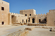 Sheikh Salman bin Ahmed Al-Fateh Fort, or Riffa Fort, built in the 17th century and rebuilt as the ruling Al Khalifa family home in 1812, at Riffa, Bahrain. The fort is square with 2 circular and 2 rectangular towers at its corners, and 3 courtyards. It was restored in the 20th century and is now a tourist attraction. Picture by Manuel Cohen