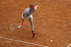 May 9, 2019 - Madrid, Spain - qStefanos Tsitsipas of Grece in action against ..Fernando Verdasco of Sapind during day six of the Mutua Madrid Open at La Caja Magica on May 09, 2019 in Madrid, Spain. (Credit Image: © Oscar Gonzalez/NurPhoto via ZUMA Press)