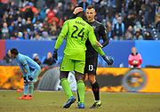 DC United defensemen Frederick Brilliant (13) and goalie Bill Hamid during the second half of an MLS soccer game against the New York City Football Club at Yankee Stadium in New York, NY, Sunday, March 10, 2019. (Bennett Cohen/image of Sport)