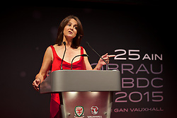 CARDIFF, WALES - Monday, October 5, 2015: Frances Donovan during the FAW Awards Dinner at Cardiff City Hall. (Pic by David Rawcliffe/Propaganda)