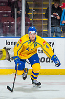 KELOWNA, BC - DECEMBER 18:  Jakob Ragnarsson #4 of Team Sweden warms up against the Team Russia at Prospera Place on December 18, 2018 in Kelowna, Canada. (Photo by Marissa Baecker/Getty Images)***Local Caption***