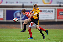 MERTHYR TYDFIL, WALES - Thursday, November 2, 2017: Wales' Callum Jones and Newport County's Lewis Johnson during an Under-18 Academy Representative Friendly match between Wales and Newport County at Penydarren Park. (Pic by David Rawcliffe/Propaganda)