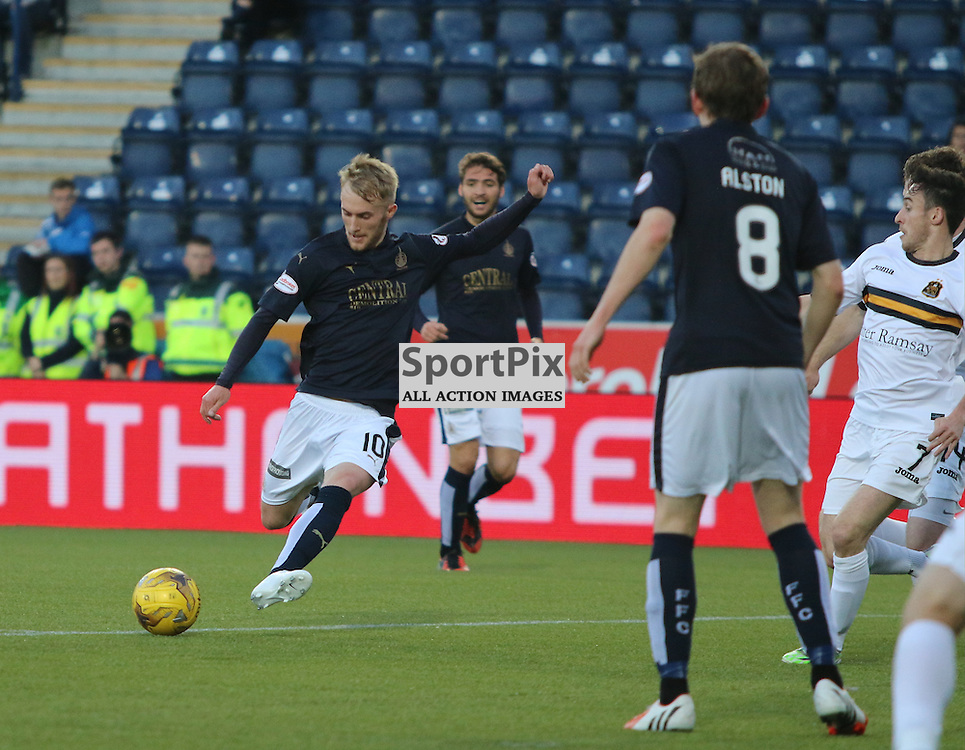 Craig Sibbald take a shot and scores during the Falkirk FC v Dumbarton FC  Scottish Championship 28th August 2015 <br /> <br /> (c) Andy Scott | SportPix.org.uk