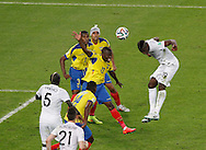 Paul Pogba of France (r) heads (saved) in the 1st half during the 2014 FIFA World Cup Group E match at Maracana Stadium, Rio de Janeiro<br /> Picture by Andrew Tobin/Focus Images Ltd +44 7710 761829<br /> 25/06/2014