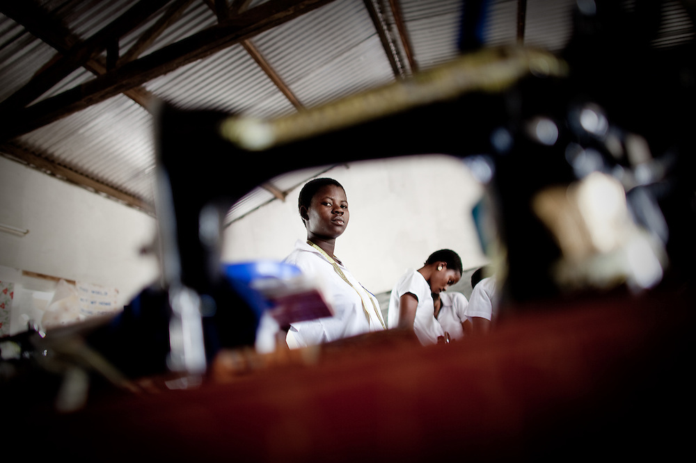 Sewing in Home Economics class at an all-girls school run by FAWE in Obodan, Ghana.