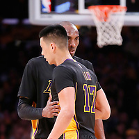 31 October 2014: Los Angeles Lakers guard Kobe Bryant (24) talks to Los Angeles Lakers guard Jeremy Lin (17) during the Los Angeles Clippers 118-111 victory over the Los Angeles Lakers, at the Staples Center, Los Angeles, California, USA.