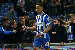 Liam Rosenior of Brighton & Hove Albion celebrates their win with the fans - Mandatory byline: Jason Brown/JMP - 07966 386802 - 15/04/2016 - FOOTBALL - American Express Community Stadium - Brighton,  England - Brighton & Hove Albion v Fulham - Championship