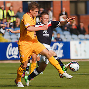 Motherwell's Shaun Hutchinson  and Dundee's John Baird  - Dundee v Motherwell, Clydesdale Bank Scottish Premier League at Dens Park.. - © David Young - 5 Foundry Place - Monifieth - DD5 4BB - Telephone 07765 252616 - email: davidyoungphoto@gmail.com - web: www.davidyoungphoto.co.uk