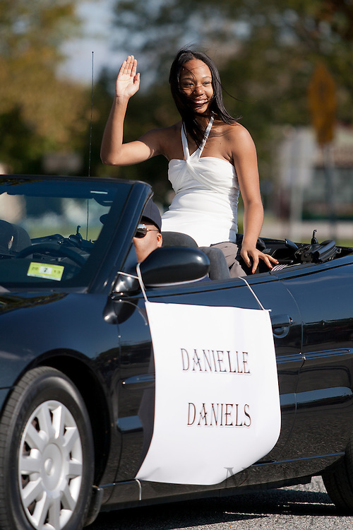 Danielle Daniels, a member of the Glassboro High School homecoming court, rides in the Glassboro High School and Rowan University Homecoming Parade on Saturday October 2, 2011. (Photo / Mat Boyle)