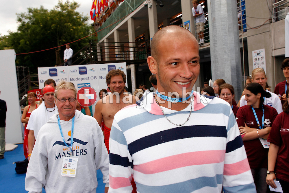 Domenico Fioravanti (R) of Italy walks to the start for the Omega Trophy for Journalists at the 28th LEN European Swimming Championships in Budapest, Hungary, Saturday, August 5, 2006. (Photo by Patrick B. Kraemer / MAGICPBK for Omega)