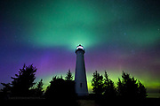 """Crisp Point Lighthouse and auroras """"To the Heavens"""""""