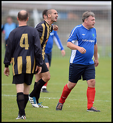 Shadow Chancellor Ed Balls  playing in the Labour Politicians v Reporter's Football match at the Labour Party Autumn Conference. Sunday, 22nd September 2013. Picture by Andrew Parsons / i-Images