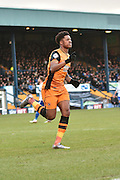 HUll City Forward, Chuba Akpom after scoring hulls opening goal during the The FA Cup fourth round match between Bury and Hull City at Gigg Lane, Bury, England on 30 January 2016. Photo by Mark Pollitt.