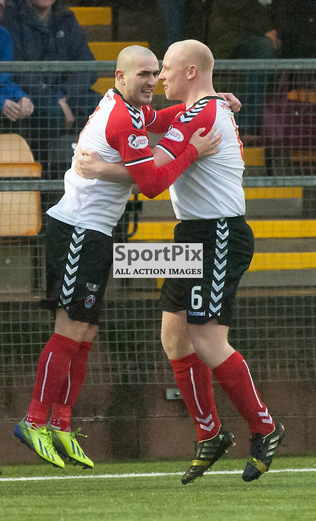 Scott Linton (Clyde, left) celebrates his goal with Chris Smith ¥ Annan Athletic v Clyde ¥ Ladbrokes League 2 ¥ 26 December 2015 ¥ © Russel Hutcheson | SportPix.org.uk
