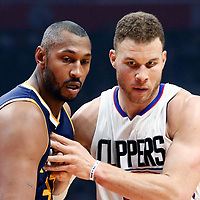 25 March 2016: LA Clippers forward Blake Griffin (32) is seen next to Utah Jazz center Boris Diaw (33) during the Los Angeles Clippers 108-95 victory over the Utah Jazz, at the Staples Center, Los Angeles, California, USA.