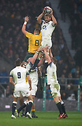 Twickenham, Surrey. UK. Chris ROBSHAW, catches the line out ball, during the <br /> England VS Australia, Autumn International. Old Mutual Wealth Series. RFU Stadium, Twickenham. UK<br /> <br /> Saturday  18.11.17<br /> <br /> [Mandatory Credit Peter SPURRIER/Intersport Images]