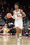 Southern California Trojans guard Elijah Weaver (3) brings the ball up against the Pepperdine Waves during an NCAA college basketball game, Tuesday, Nov. 19, 2019, in Los Angeles. USC defeated Pepperdine 91-84. (Jon Endow/Image of Sport)
