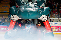 KELOWNA, CANADA - MARCH 5: Riley Stadel #3 of the Kelowna Rockets leads the team to the ice against the Spokane Chiefs on March 5, 2014 at Prospera Place in Kelowna, British Columbia, Canada.   (Photo by Marissa Baecker/Getty Images)  *** Local Caption *** Riley Stadel;