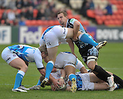 13.11.2011. Glasgow, Scotland.  Heineken Cup pool 3 Rugby Union from the Firhill Stadium. Glasgow Warriors v Bath. Colin Shaw drives over the ruck