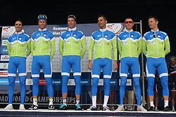 Slovenian national cycling  team. From left: Borut Bozic, Kristjan Koren, Jure Kocjan, Gorazd Stangelj, Janez Brajkovic and Grega Bole during the Men's Elite Road Race at the UCI Road World Championships on September 25, 2011 in Copenhagen, Denmark. (Photo by Marjan Kelner / Sportida Photo Agency)