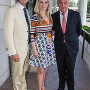 NLD/Amsterdam/20140612 - Hilton Haringparty 2014, Harry mens met dochter Suze en haar man Emiel de Sevren Jacquet