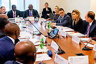 WASHINGTON - Queen Maxima during the roundtable with Nigeria with governor Emefiele and professor Danbatta at the World Bank in Washington. She takes part in the spring meeting of the World Bank Group. Maxima does this in its role as special advocate of the UN Secretary General for inclusive financing for development.  ROBIN UTRECHT