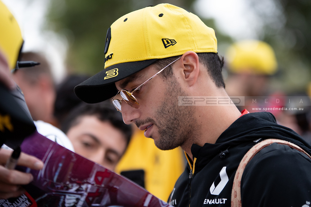 ALBERT PARK, VIC - MARCH 15: Renault F1 Team driver Daniel Ricciardo arrives at The Australian Formula One Grand Prix on March 15, 2019, at The Melbourne Grand Prix Circuit in Albert Park, Australia. (Photo by Speed Media/Icon Sportswire)