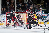 KELOWNA, CANADA - DECEMBER 30: Sam Ruopp #2 and Ty Edmonds #35 of Prince George Cougars block a shot from the Kelowna Rockets on December 30, 2014 at Prospera Place in Kelowna, British Columbia, Canada.  (Photo by Marissa Baecker/Shoot the Breeze)  *** Local Caption *** Sam Ruopp; Ty Edmonds;