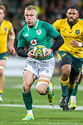 Keith Earls of Ireland runs with the ball during the Australian Wallabies vs Ireland second Mitsubishi Estate test match at AAMI Park, Melbourne, Australia on 16 June 2018. Picture by Martin Keep.