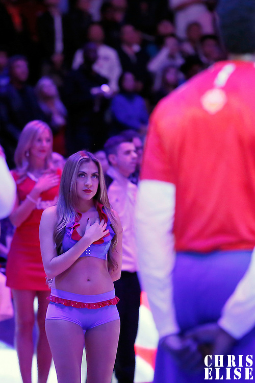 01 February 2014: A Clippers Spirit Dancer is seen during the National Anthem prior to the Los Angeles Clippers 102-87 victory over the Utah Jazz at the Staples Center, Los Angeles, California, USA.