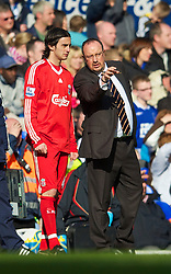 BIRMINGHAM, ENGLAND - Sunday, April 4, 2010: Liverpool's manager Rafael Benitez prepares to bring on Alberto Aquilani during the Premiership match against Birmingham City at St Andrews. (Photo by David Rawcliffe/Propaganda)