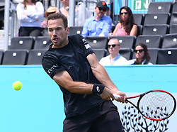 June 21, 2018 - London, United Kingdom - Bruno Soares (BRA)  in action.during Fever-Tree Championships 2nd Round match between Jamie Murray  Bruno Soares (BRA) against Marcus Daniell  (NZL)AND Wesley Koolhof ( NED ) at The Queen's Club, London, on 21 June 2018  (Credit Image: © Kieran Galvin/NurPhoto via ZUMA Press)