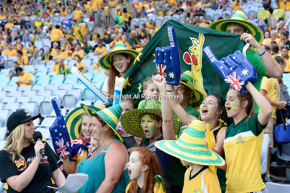 13.01.2015.  Sydney, Australia. AFC Asian Cup Group A. Australia versus Oman. Australian fans in fabcy dress and with flags get animated before kickoff. Australia won the game 4-0.