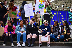 © Licensed to London News Pictures. 24/05/2019. LONDON, UK.  Students protest during a climate change strike outside the Houses of Parliament, demanding that governments take immediate action to mitigate the negative impact of climate change.  Photo credit: Stephen Chung/LNP